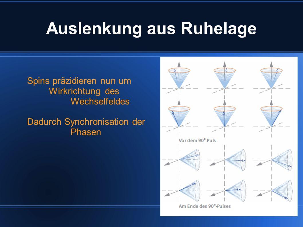 Auslenkung aus Ruhelage Spins präzidieren nun um Wirkrichtung des Wechselfeldes Dadurch Synchronisation der Phasen