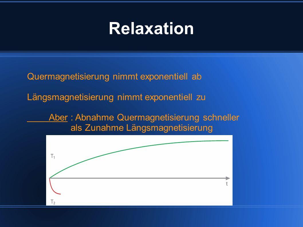 Relaxation Quermagnetisierung nimmt exponentiell ab Längsmagnetisierung nimmt exponentiell zu Aber : Abnahme Quermagnetisierung schneller als Zunahme