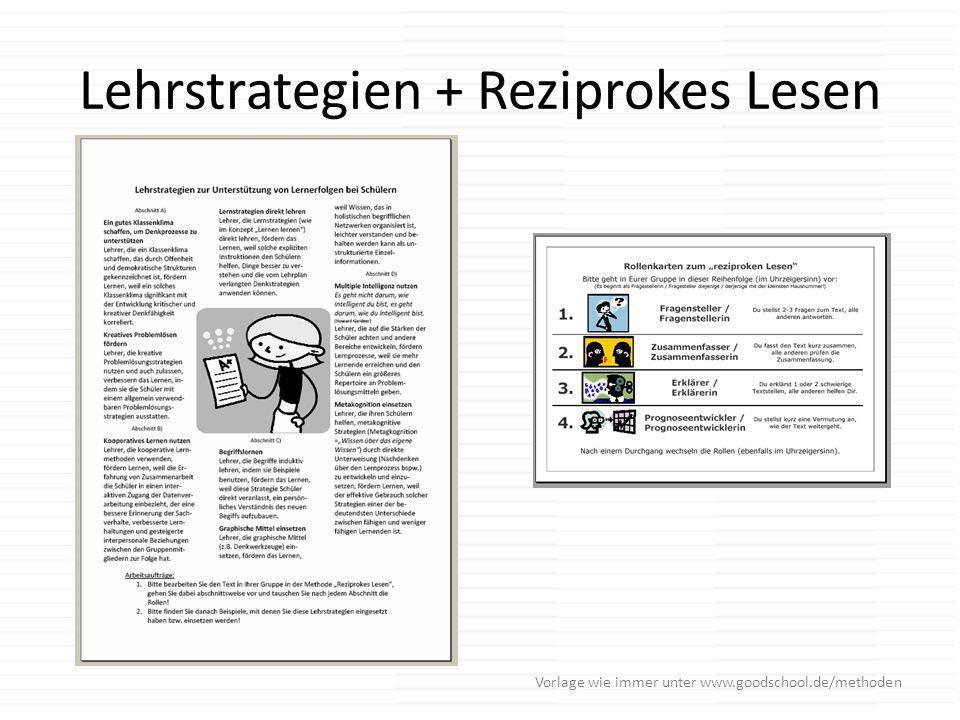 Lehrstrategien + Reziprokes Lesen Vorlage wie immer unter www.goodschool.de/methoden