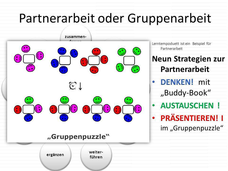 Partnerarbeit oder Gruppenarbeit Strategien zur Partner- arbeit zusammen- fassen korrigiereneinigenumdenken weiter- führen ergänzen verbal- isieren ch