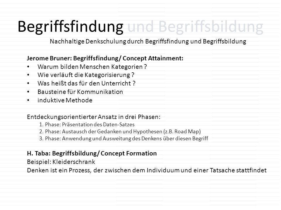 Begriffsfindung und Begriffsbildung Nachhaltige Denkschulung durch Begriffsfindung und Begriffsbildung Jerome Bruner: Begriffsfindung/ Concept Attainm