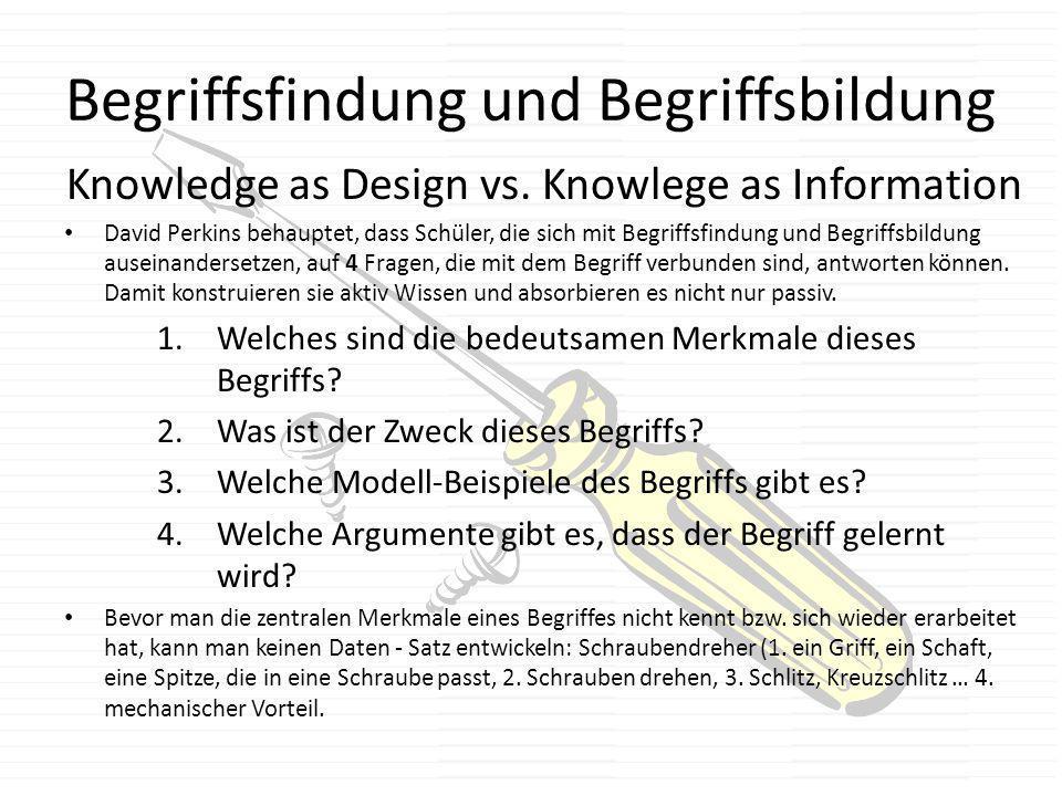 Begriffsfindung und Begriffsbildung Knowledge as Design vs. Knowlege as Information David Perkins behauptet, dass Schüler, die sich mit Begriffsfindun