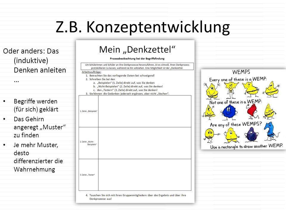 Z.B. Konzeptentwicklung Oder anders: Das (induktive) Denken anleiten … Begriffe werden (für sich) geklärt Das Gehirn angeregt Muster zu finden Je mehr