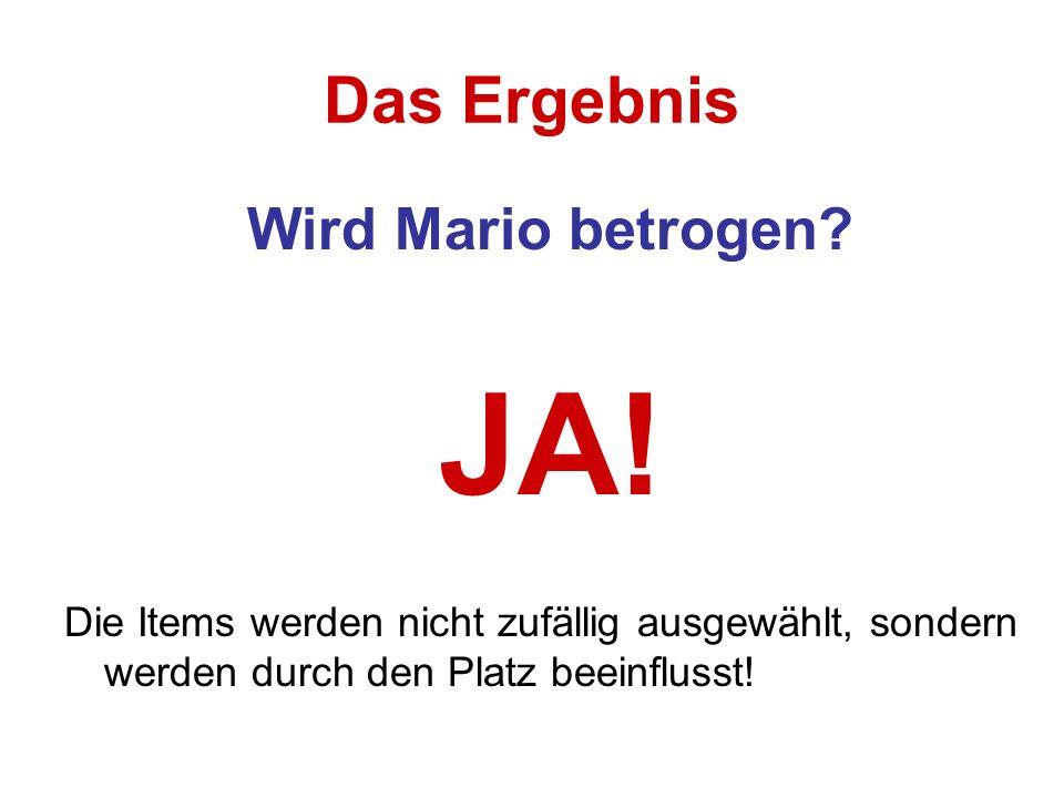 Das Ergebnis Wird Mario betrogen? JA! Die Items werden nicht zufällig ausgewählt, sondern werden durch den Platz beeinflusst!