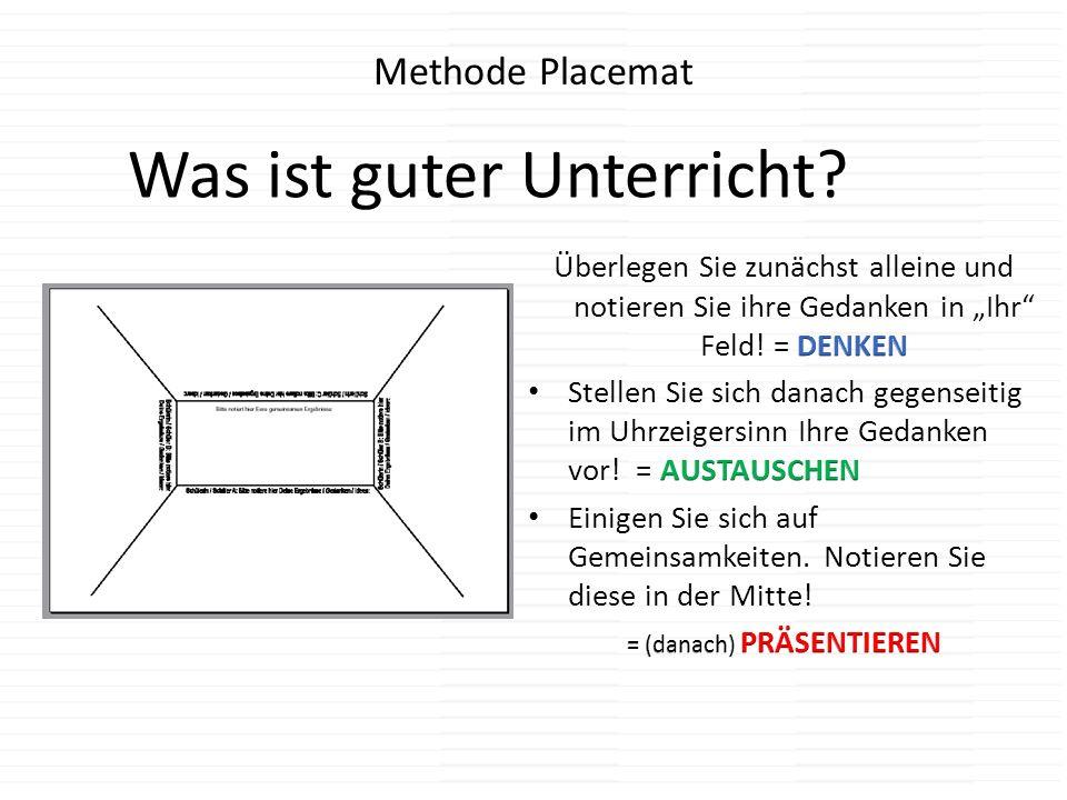 Methode Placemat Was ist guter Unterricht?