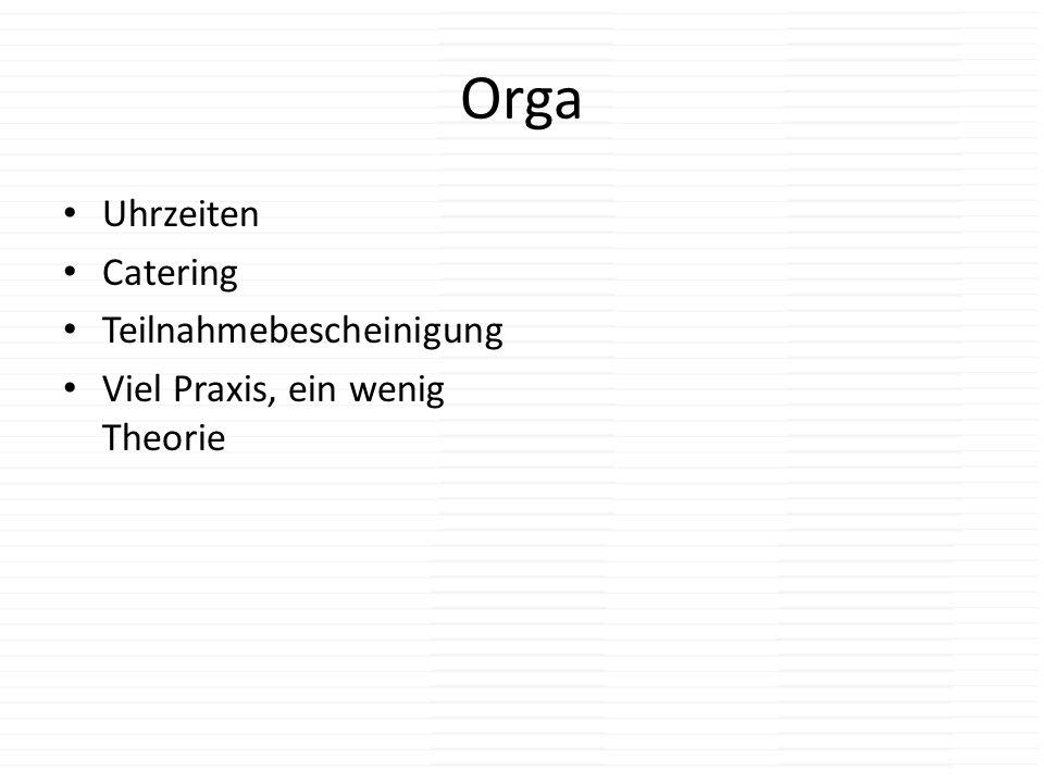 Orga Uhrzeiten Catering Teilnahmebescheinigung Viel Praxis, ein wenig Theorie