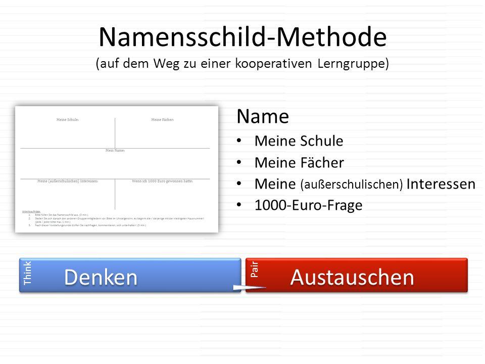 Namensschild-Methode (auf dem Weg zu einer kooperativen Lerngruppe) Name Meine Schule Meine Fächer Meine (außerschulischen) Interessen 1000-Euro-Frage