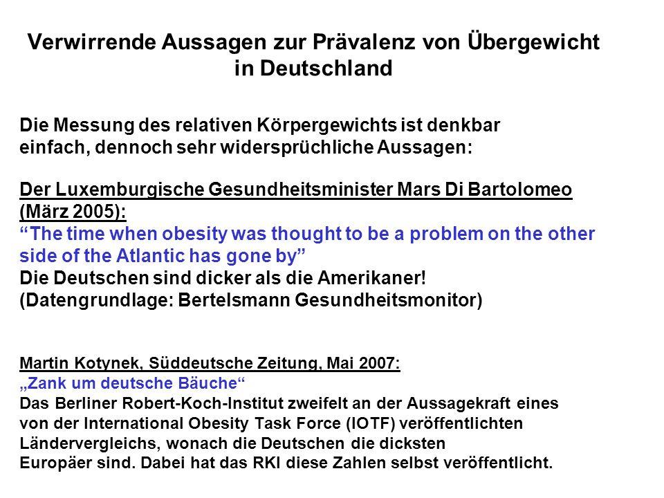 Verwirrende Aussagen zur Prävalenz von Übergewicht in Deutschland Die Messung des relativen Körpergewichts ist denkbar einfach, dennoch sehr widersprü