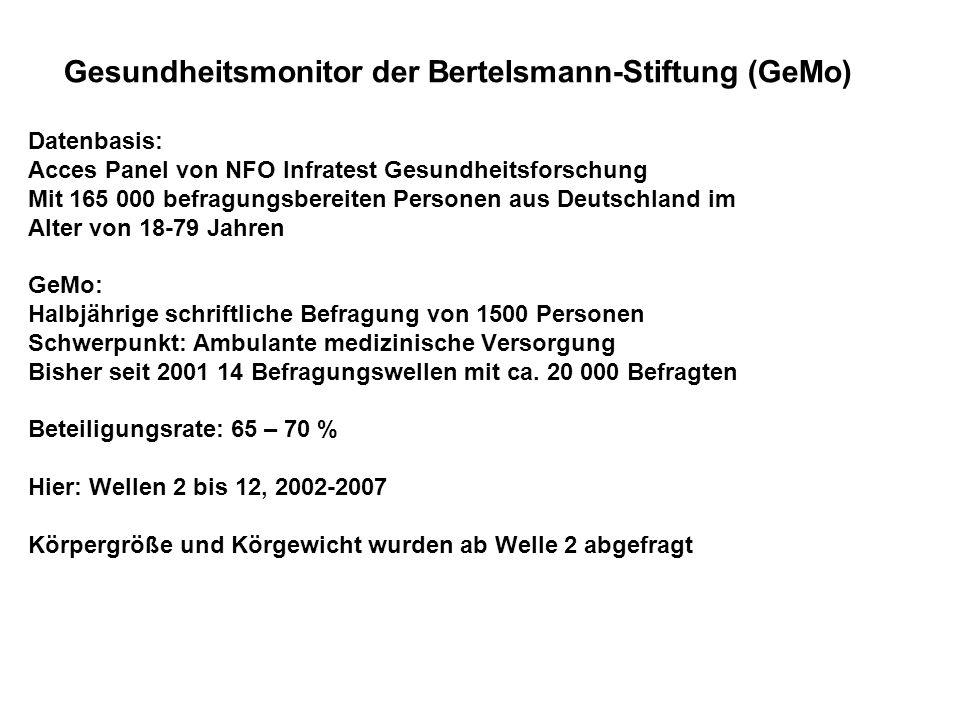 Gesundheitsmonitor der Bertelsmann-Stiftung (GeMo) Datenbasis: Acces Panel von NFO Infratest Gesundheitsforschung Mit 165 000 befragungsbereiten Perso