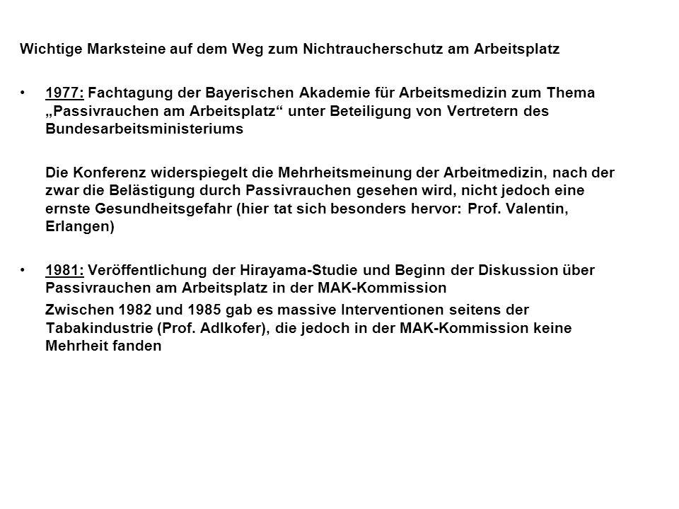 Wichtige Marksteine auf dem Weg zum Nichtraucherschutz am Arbeitsplatz 1977: Fachtagung der Bayerischen Akademie für Arbeitsmedizin zum Thema Passivrauchen am Arbeitsplatz unter Beteiligung von Vertretern des Bundesarbeitsministeriums Die Konferenz widerspiegelt die Mehrheitsmeinung der Arbeitmedizin, nach der zwar die Belästigung durch Passivrauchen gesehen wird, nicht jedoch eine ernste Gesundheitsgefahr (hier tat sich besonders hervor: Prof.