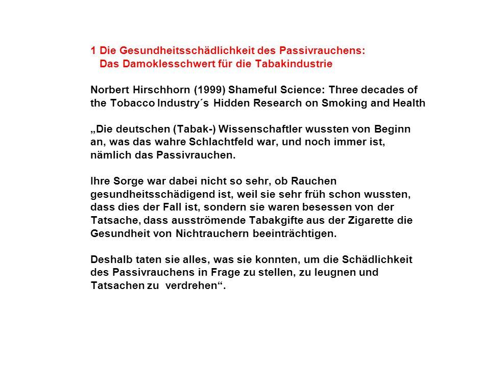 1 Die Gesundheitsschädlichkeit des Passivrauchens: Das Damoklesschwert für die Tabakindustrie Norbert Hirschhorn (1999) Shameful Science: Three decade