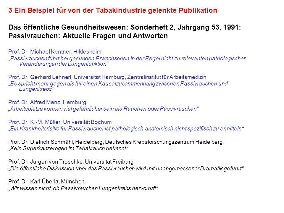 3 Ein Beispiel für von der Tabakindustrie gelenkte Publikation Das öffentliche Gesundheitswesen: Sonderheft 2, Jahrgang 53, 1991: Passivrauchen: Aktue