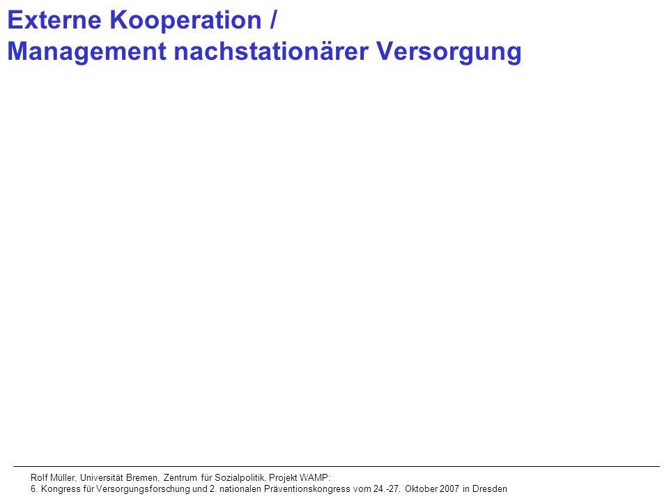 Externe Kooperation / Management nachstationärer Versorgung Rolf Müller, Universität Bremen, Zentrum für Sozialpolitik, Projekt WAMP: 6. Kongress für