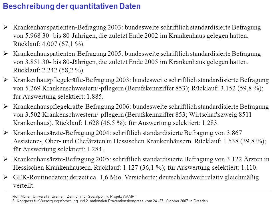 Beschreibung der quantitativen Daten Krankenhauspatienten-Befragung 2003: bundesweite schriftlich standardisierte Befragung von 5.968 30- bis 80-Jähri