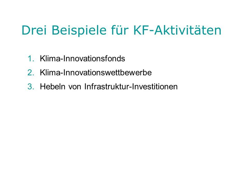 Drei Beispiele für KF-Aktivitäten 1.Klima-Innovationsfonds 2.Klima-Innovationswettbewerbe 3.Hebeln von Infrastruktur-Investitionen