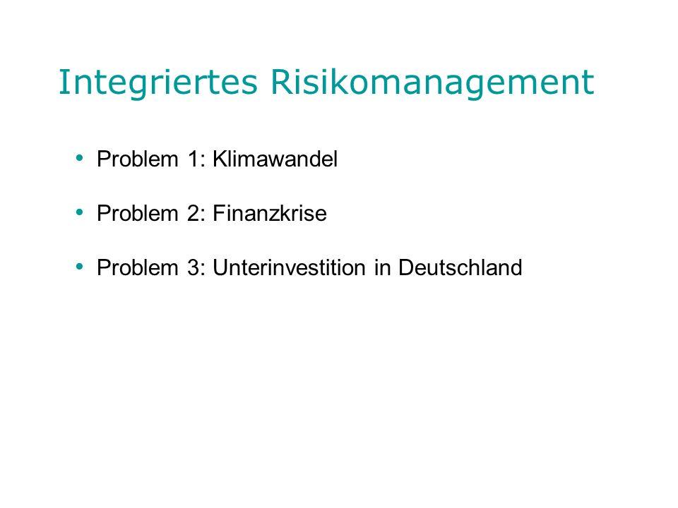 Integriertes Risikomanagement Problem 1: Klimawandel Problem 2: Finanzkrise Problem 3: Unterinvestition in Deutschland