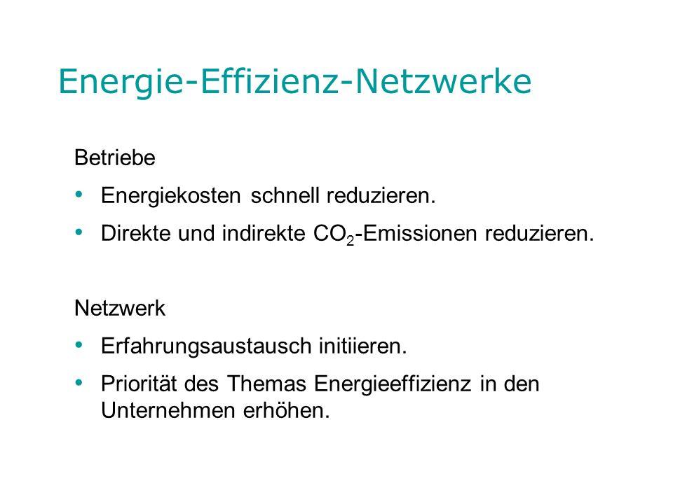 Energie-Effizienz-Netzwerke Betriebe Energiekosten schnell reduzieren. Direkte und indirekte CO 2 -Emissionen reduzieren. Netzwerk Erfahrungsaustausch
