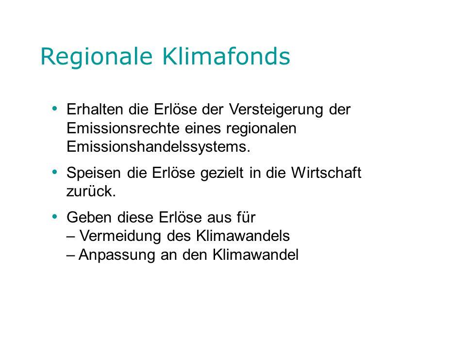 Regionale Klimafonds Erhalten die Erlöse der Versteigerung der Emissionsrechte eines regionalen Emissionshandelssystems. Speisen die Erlöse gezielt in