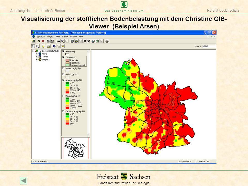 Landesamt für Umwelt und Geologie Abteilung Natur, Landschaft, Boden Referat Bodenschutz Visualisierung der stofflichen Bodenbelastung mit dem Christi