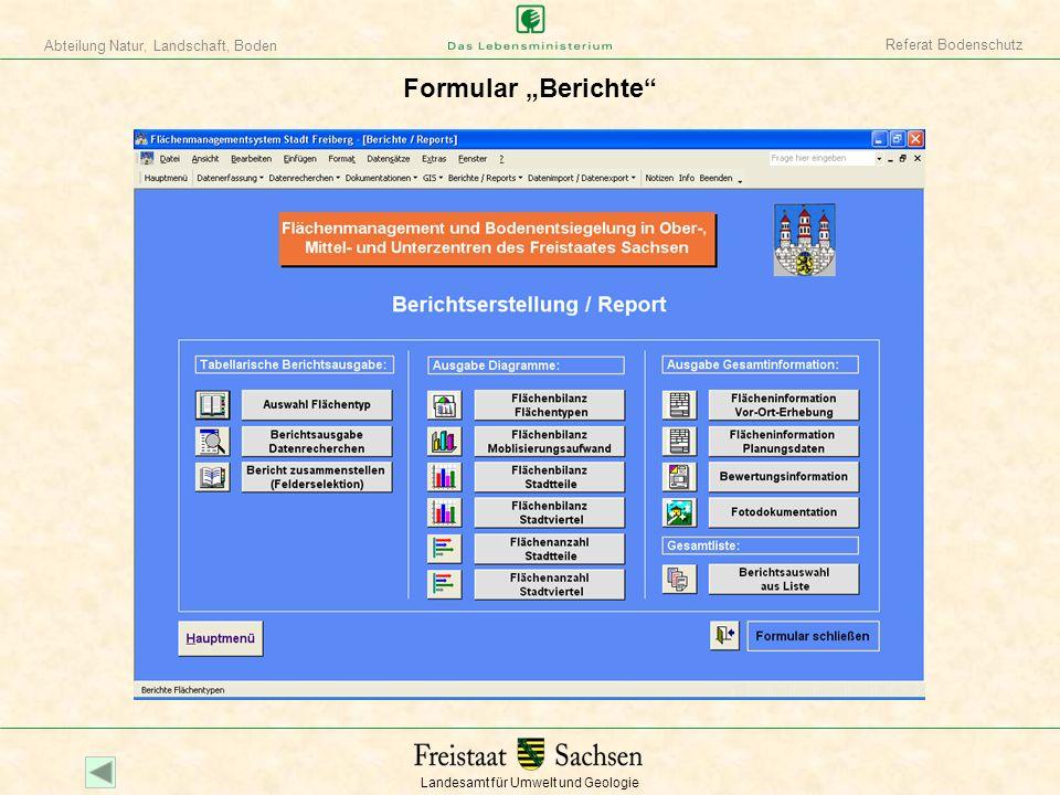 Landesamt für Umwelt und Geologie Abteilung Natur, Landschaft, Boden Referat Bodenschutz Formular Berichte