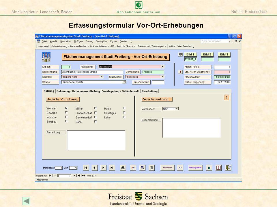 Landesamt für Umwelt und Geologie Abteilung Natur, Landschaft, Boden Referat Bodenschutz Formular Planungsdaten