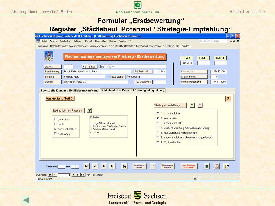 Landesamt für Umwelt und Geologie Abteilung Natur, Landschaft, Boden Referat Bodenschutz Formular Datenimport / Datenexport
