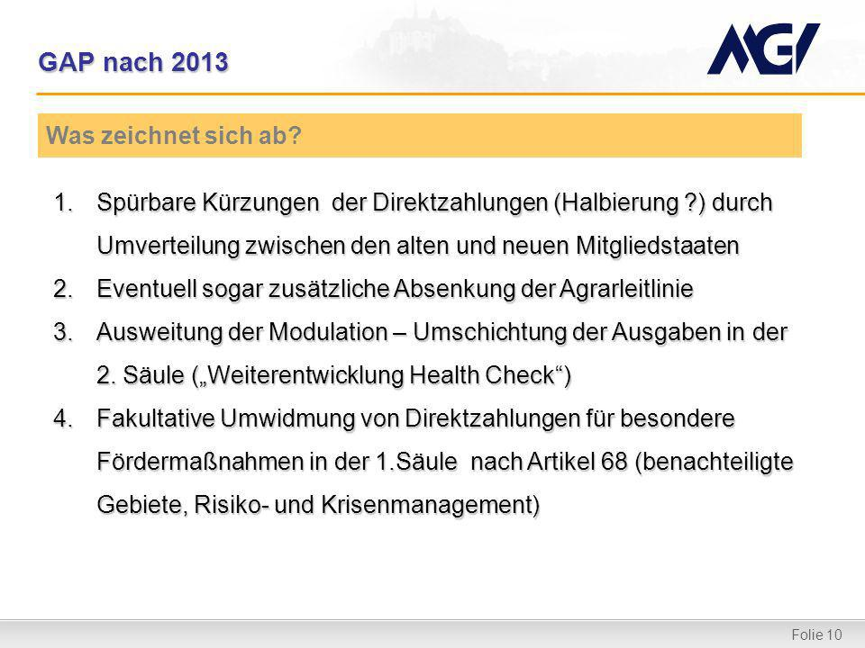 Folie 10 GAP nach 2013 1.Spürbare Kürzungen der Direktzahlungen (Halbierung ?) durch Umverteilung zwischen den alten und neuen Mitgliedstaaten 2.Event