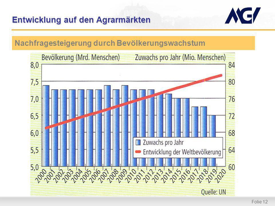 Folie 12 Entwicklung auf den Agrarmärkten Nachfragesteigerung durch Bevölkerungswachstum