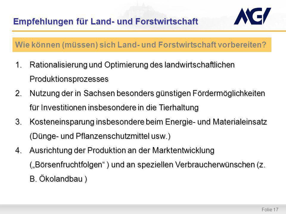 Folie 17 Empfehlungen für Land- und Forstwirtschaft 1.Rationalisierung und Optimierung des landwirtschaftlichen Produktionsprozesses 2.Nutzung der in