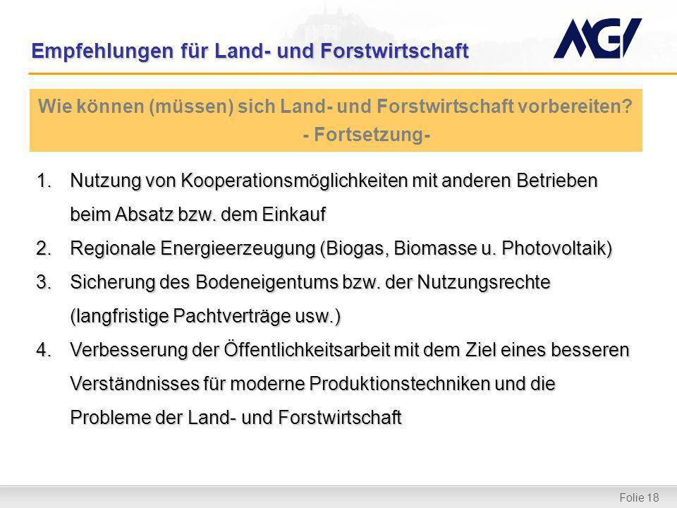 Folie 18 Empfehlungen für Land- und Forstwirtschaft 1.Nutzung von Kooperationsmöglichkeiten mit anderen Betrieben beim Absatz bzw. dem Einkauf 2.Regio