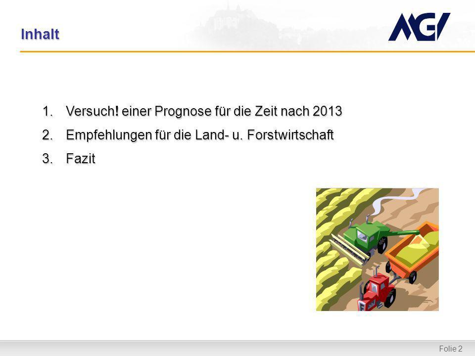 Folie 2 Inhalt 1.Versuch! einer Prognose für die Zeit nach 2013 2.Empfehlungen für die Land- u. Forstwirtschaft 3.Fazit