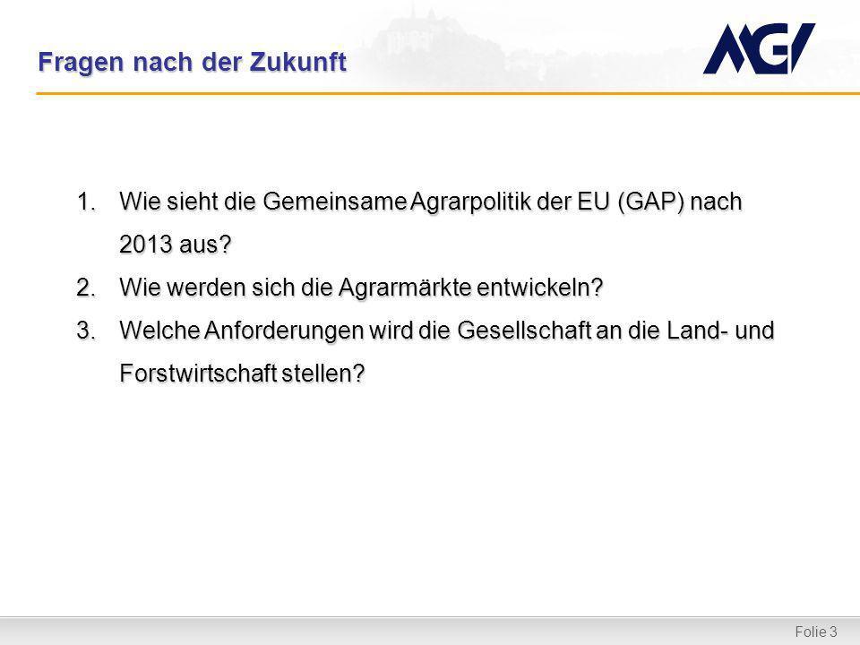 Folie 3 Fragen nach der Zukunft 1.Wie sieht die Gemeinsame Agrarpolitik der EU (GAP) nach 2013 aus? 2.Wie werden sich die Agrarmärkte entwickeln? 3.We