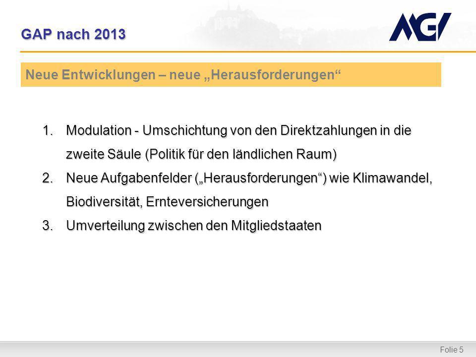 Folie 5 GAP nach 2013 1.Modulation - Umschichtung von den Direktzahlungen in die zweite Säule (Politik für den ländlichen Raum) 2.Neue Aufgabenfelder