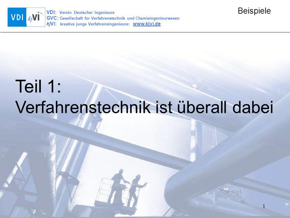 VDI: Verein Deutscher Ingenieure GVC: Gesellschaft für Verfahrenstechnik und Chemieingenieurwesen kjVI: kreative junge Verfahrensingenieure: www.kjvi.de Beispiele 1 Teil 1: Verfahrenstechnik ist überall dabei