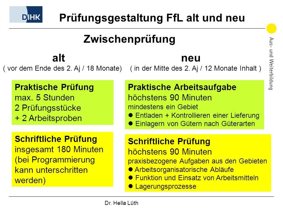 Prüfungsgestaltung FfL alt und neu Zwischenprüfung alt neu Praktische Prüfung max.