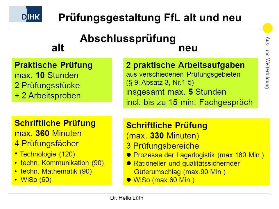 Prüfungsgestaltung FfL alt und neu Abschlussprüfung alt neu Praktische Prüfung max.