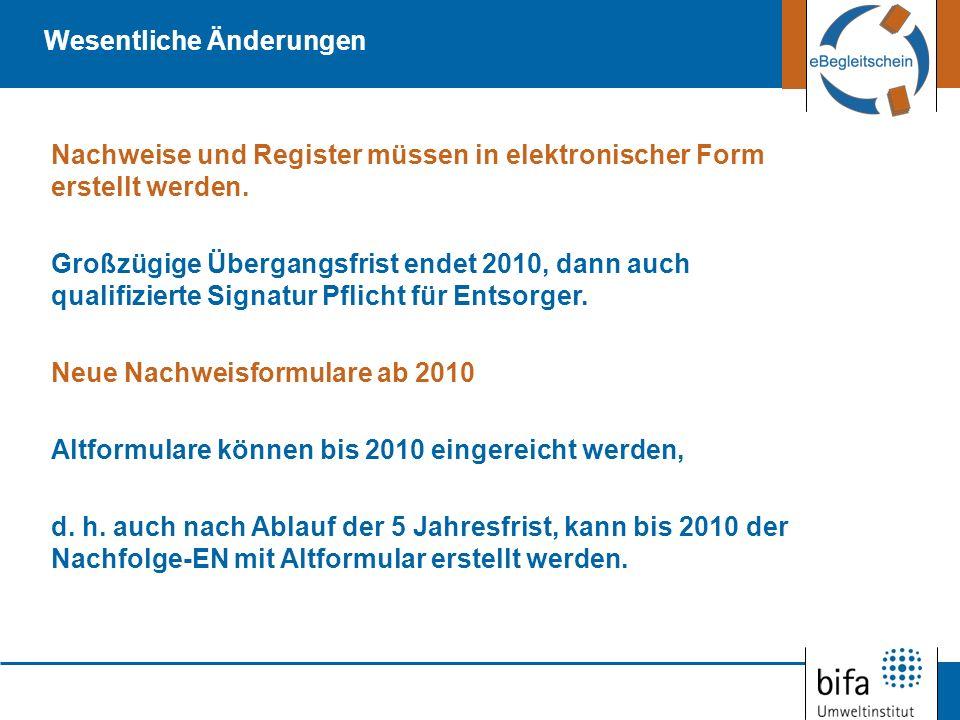 Nachweise und Register müssen in elektronischer Form erstellt werden. Großzügige Übergangsfrist endet 2010, dann auch qualifizierte Signatur Pflicht f