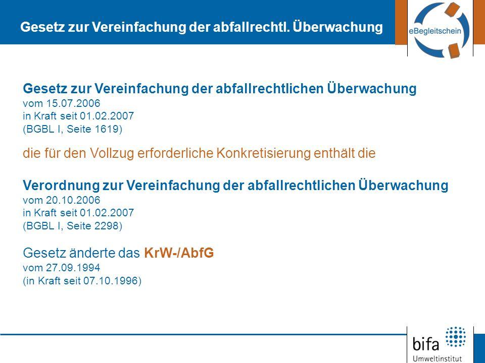 Vereinfachungskonzept basiert auf drei Säulen: Strukturelle Anpassung an die Vorgaben des EG-Rechts (neue Abfallrahmenrichtlinie in der EU im entstehen 17.06.2008) Punktuelle Vereinfachung in Einzelbereichen, Rücknahme Elektronische Abwicklung des abfallrechtlichen Nachweisverfahrens (Verwaltungsvereinbarung über gemeinsame Abfall DV-Systeme der Länder – GADSYS; zentrale Koordinierungsstelle der Länder LAGA) Durch Artikel 1 der Verordnung zur Vereinfachung der abfallrechtlichen Überwachung wird die Kontrolle neu gefasst: Verordnung über die Nachweisführung bei der Entsorgung von Abfällen (Nachweisverordnung – NachwV: In Kraft seit 01.02.2007, BGBL.