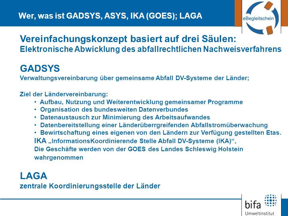 Wer, was ist GADSYS, ASYS, IKA (GOES); LAGA Vereinfachungskonzept basiert auf drei Säulen: Elektronische Abwicklung des abfallrechtlichen Nachweisverf