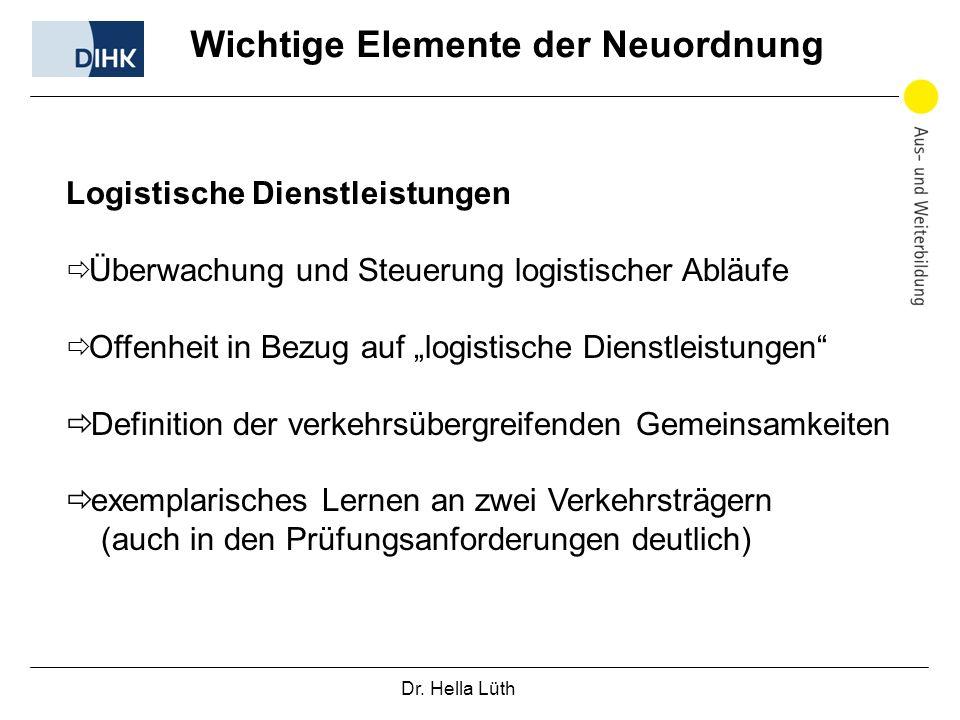 Dr. Hella Lüth Wichtige Elemente der Neuordnung Logistische Dienstleistungen Überwachung und Steuerung logistischer Abläufe Offenheit in Bezug auf log