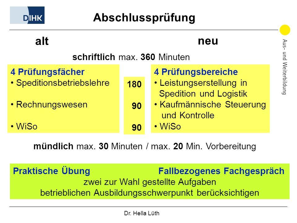 Dr. Hella Lüth Abschlussprüfung 4 Prüfungsfächer Speditionsbetriebslehre Rechnungswesen WiSo schriftlich max. 360 Minuten 4 Prüfungsbereiche Leistungs