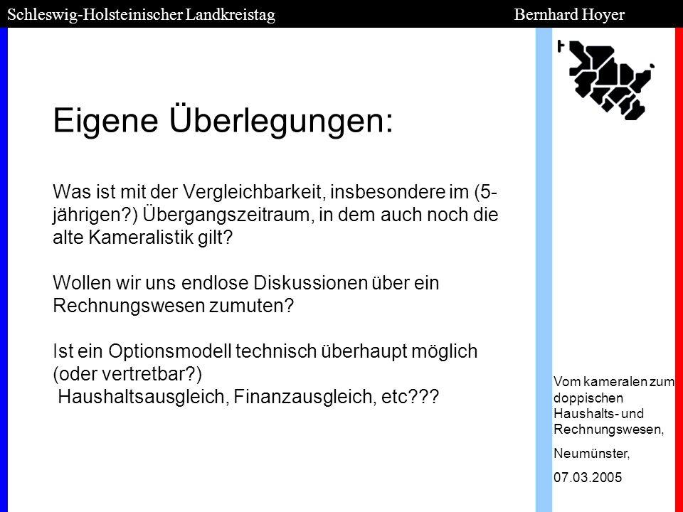 Schleswig-Holsteinischer Landkreistag Bernhard Hoyer Entschluss Kreise als Trendsetter ; besser selbst bestimmen als erleiden Günstige Ausgangslage bei nur 11 Kreisen, die meisten Städte folgen...