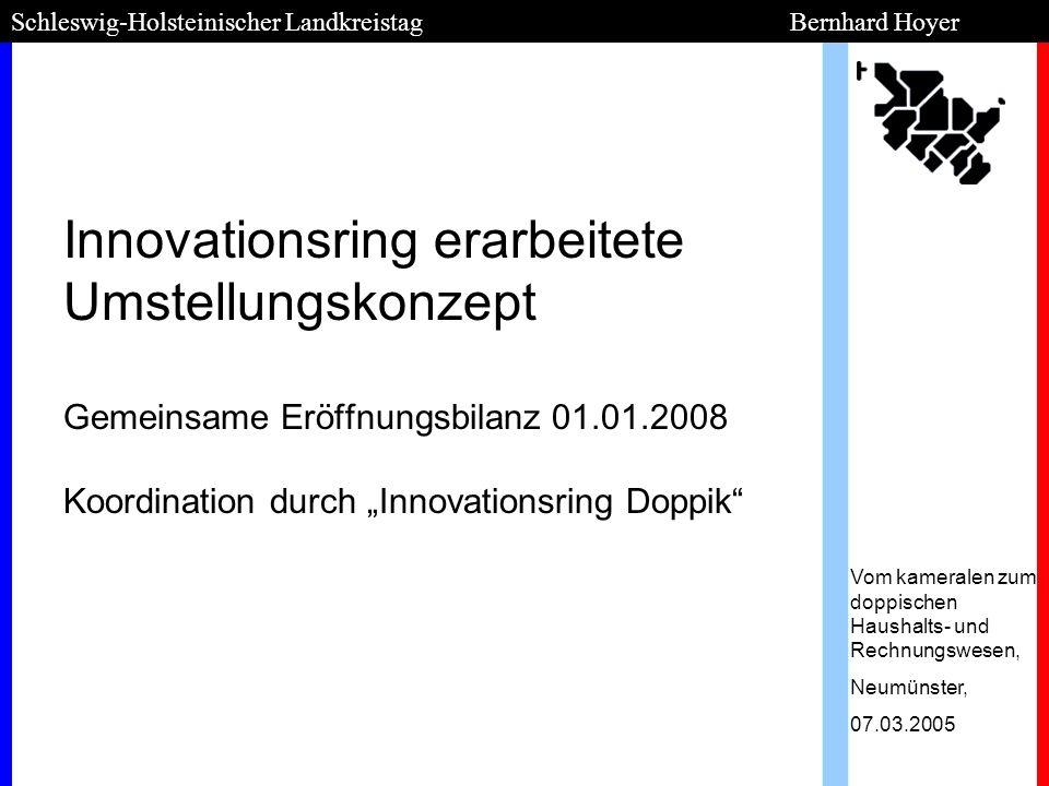 Innovationsring erarbeitete Umstellungskonzept Gemeinsame Eröffnungsbilanz 01.01.2008 Koordination durch Innovationsring Doppik Schleswig-Holsteinisch