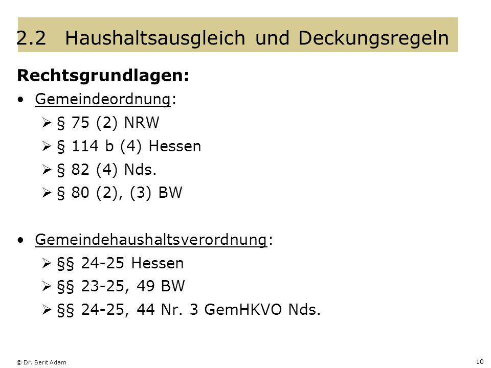 © Dr. Berit Adam 10 2.2Haushaltsausgleich und Deckungsregeln Rechtsgrundlagen: Gemeindeordnung: § 75 (2) NRW § 114 b (4) Hessen § 82 (4) Nds. § 80 (2)