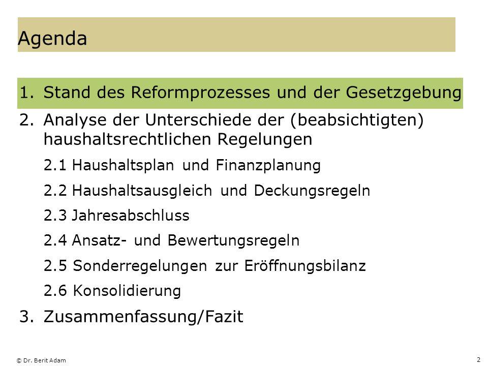 © Dr. Berit Adam 2 Agenda 1.Stand des Reformprozesses und der Gesetzgebung 2.Analyse der Unterschiede der (beabsichtigten) haushaltsrechtlichen Regelu