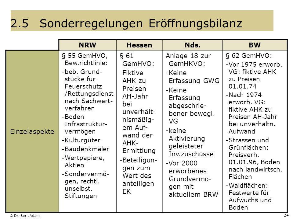 © Dr. Berit Adam 24 2.5Sonderregelungen Eröffnungsbilanz NRWHessenNds.BW Einzelaspekte § 55 GemHVO, Bew.richtlinie: -beb. Grund- stücke für Feuerschut