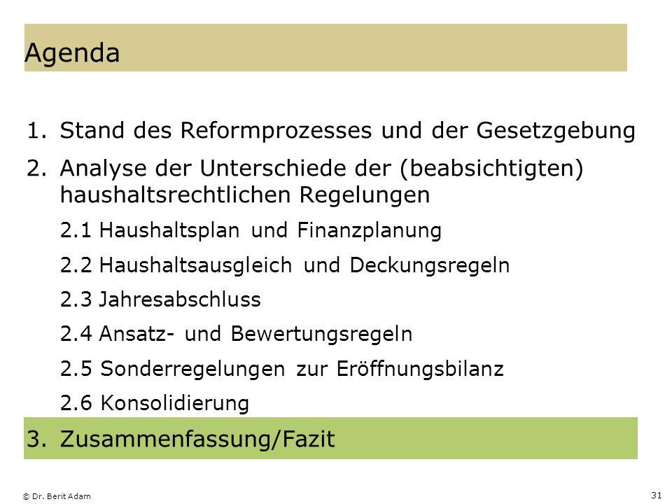 © Dr. Berit Adam 31 Agenda 1.Stand des Reformprozesses und der Gesetzgebung 2.Analyse der Unterschiede der (beabsichtigten) haushaltsrechtlichen Regel