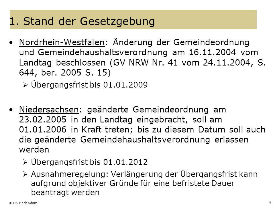 © Dr. Berit Adam 4 1. Stand der Gesetzgebung Nordrhein-Westfalen: Änderung der Gemeindeordnung und Gemeindehaushaltsverordnung am 16.11.2004 vom Landt