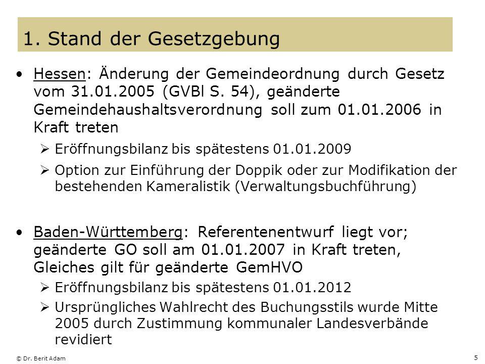 © Dr. Berit Adam 5 Hessen: Änderung der Gemeindeordnung durch Gesetz vom 31.01.2005 (GVBl S. 54), geänderte Gemeindehaushaltsverordnung soll zum 01.01