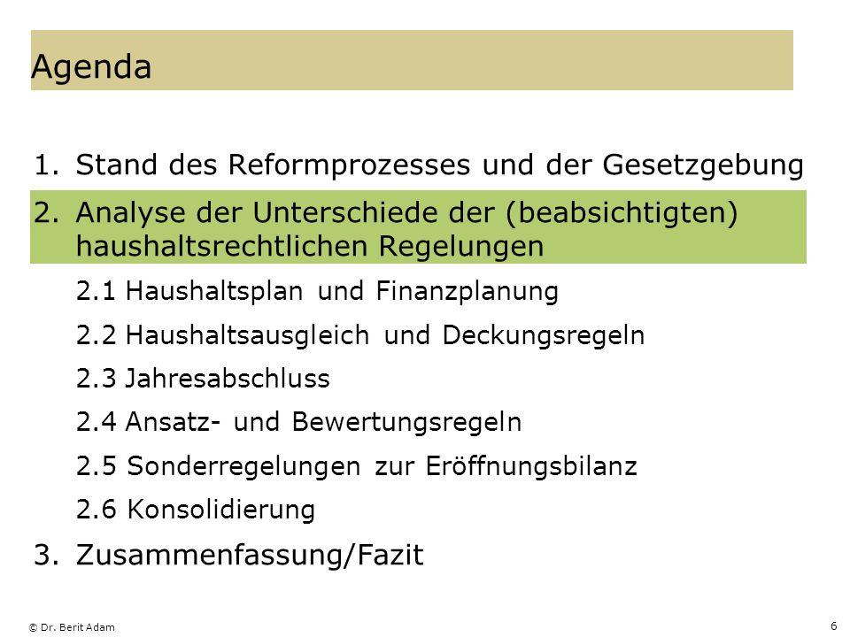 © Dr. Berit Adam 6 Agenda 1.Stand des Reformprozesses und der Gesetzgebung 2.Analyse der Unterschiede der (beabsichtigten) haushaltsrechtlichen Regelu